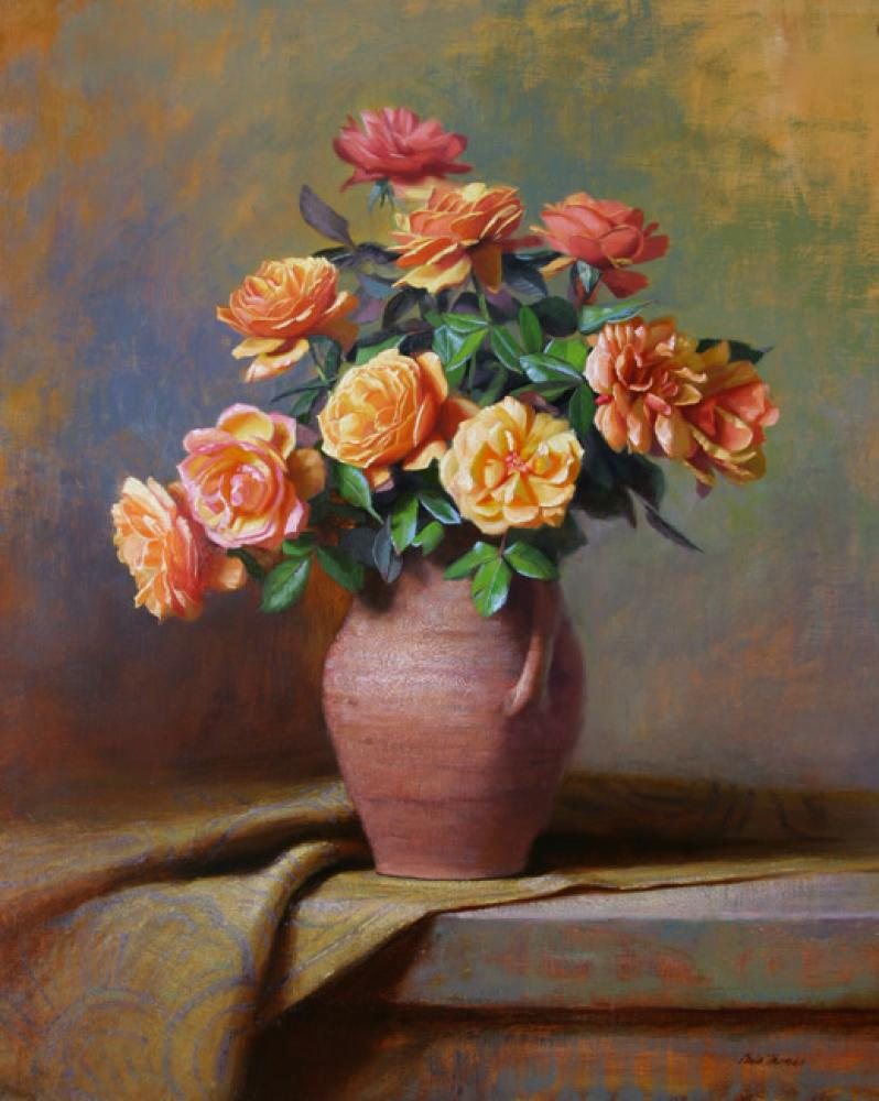 Chris Thomas, Summer Roses  Oil on Board, 30x24 in.