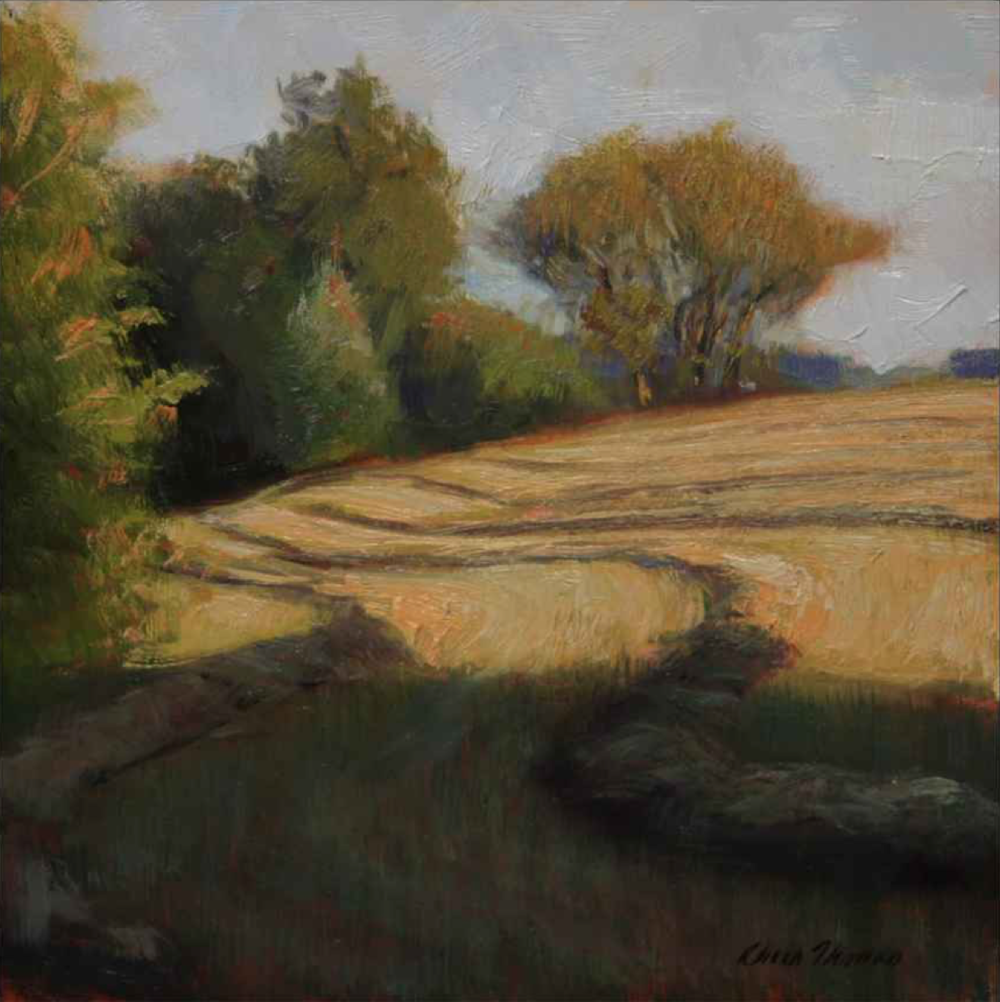 Chris Thomas, Wind Rows  Oil on Wood Panel, 6x6 in.