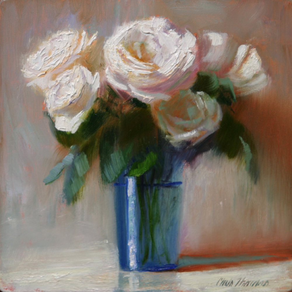 Chris Thomas, White Roses in Blue Glass  Oil on Wood Panel, 6x6 in.
