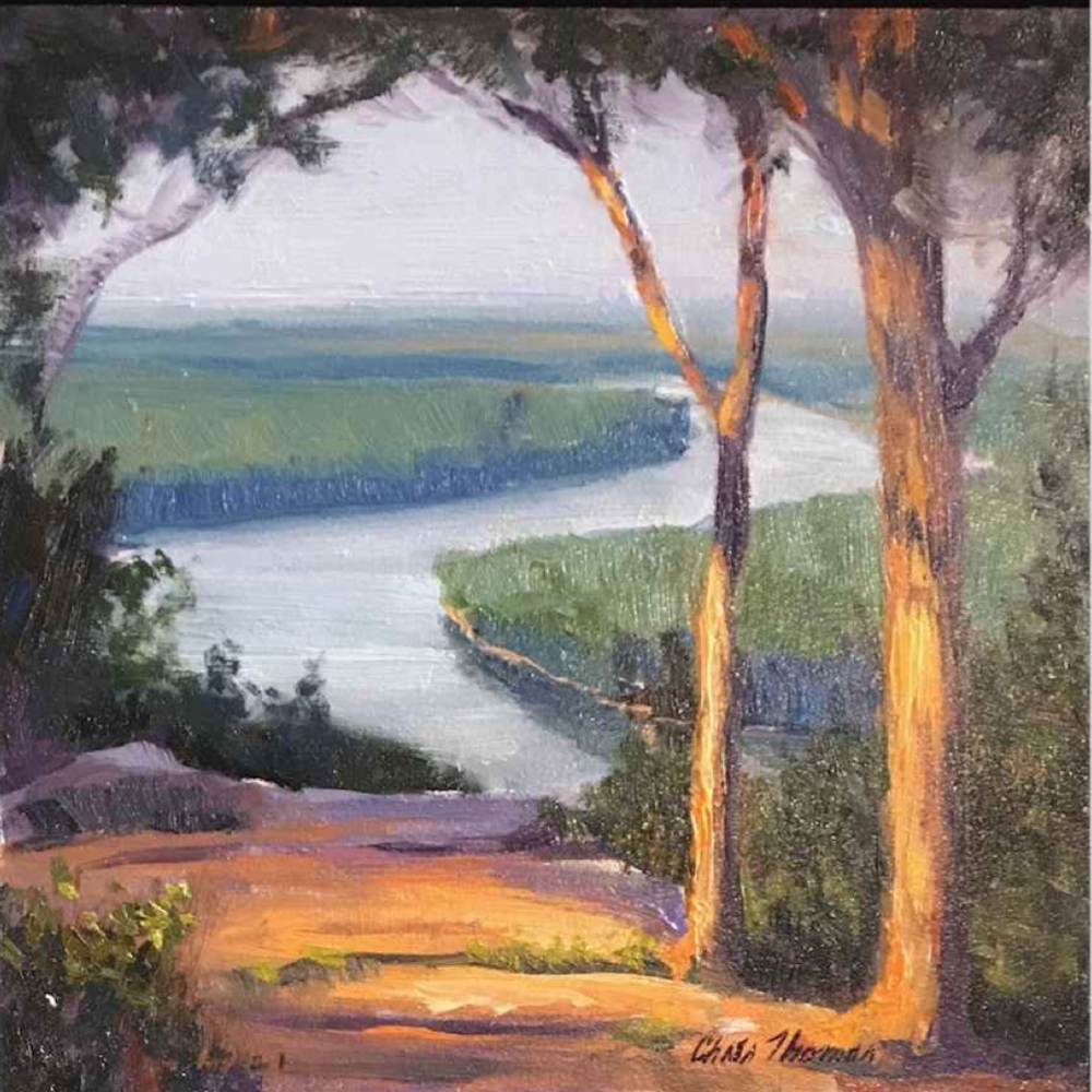 Chris Thomas, River Overlook  Oil on Wood Panel, 6x6 in.