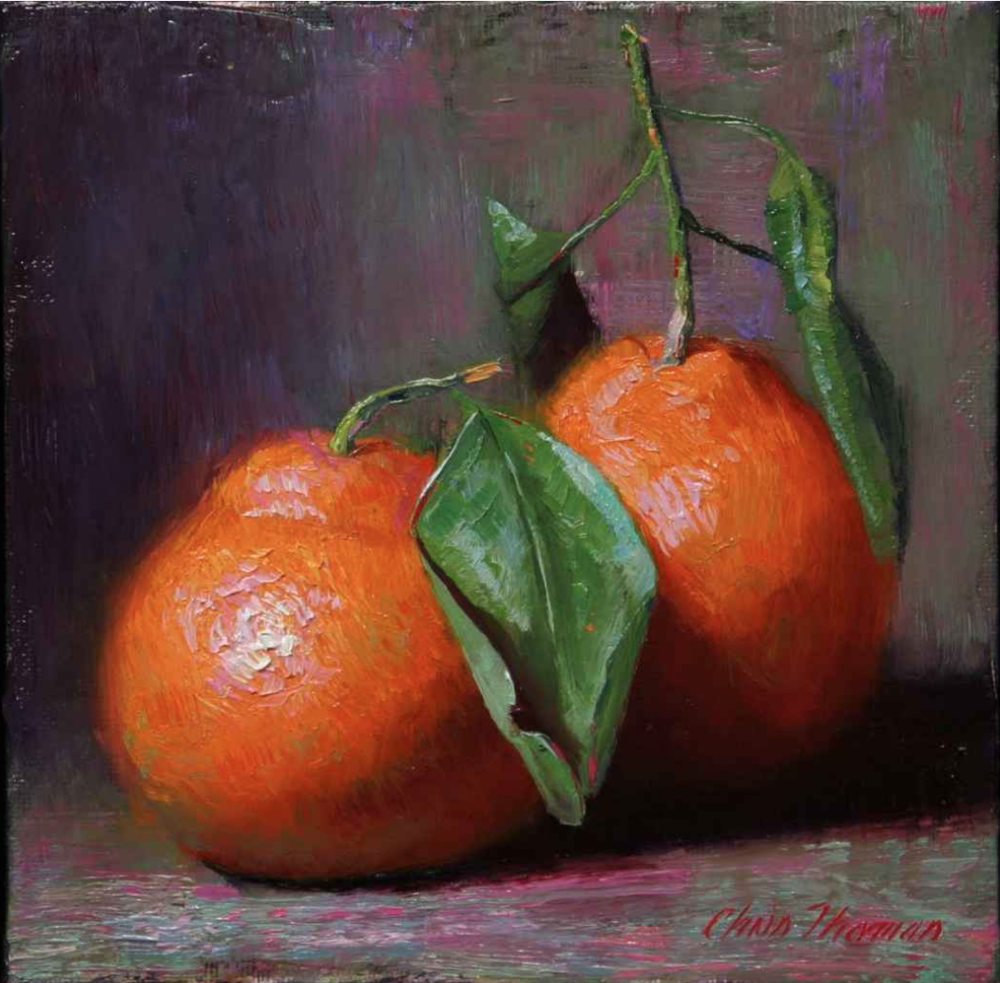 Chris Thomas, Satsuma Oranges  Oil on Wood Panel, 6x6 in.