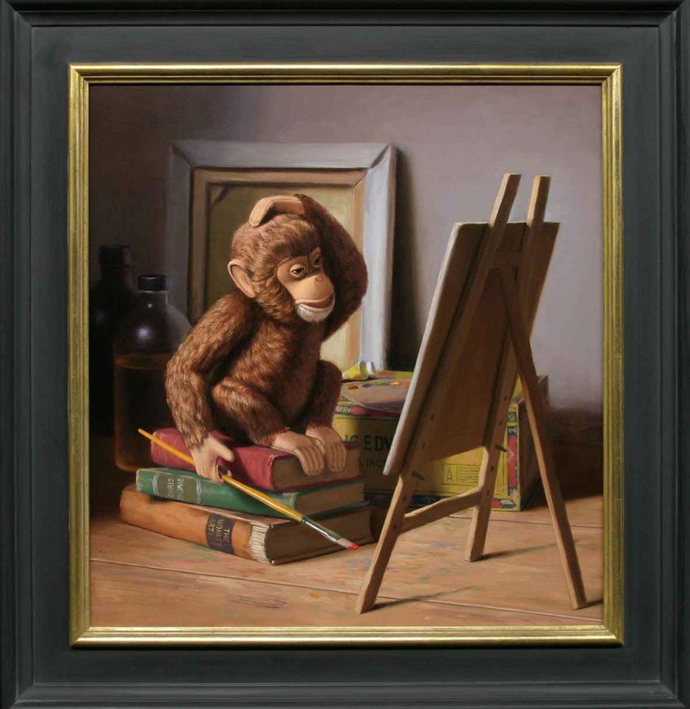 Chris Thomas, Monkey Artist  Oil on Linen on Panel20x19 in.
