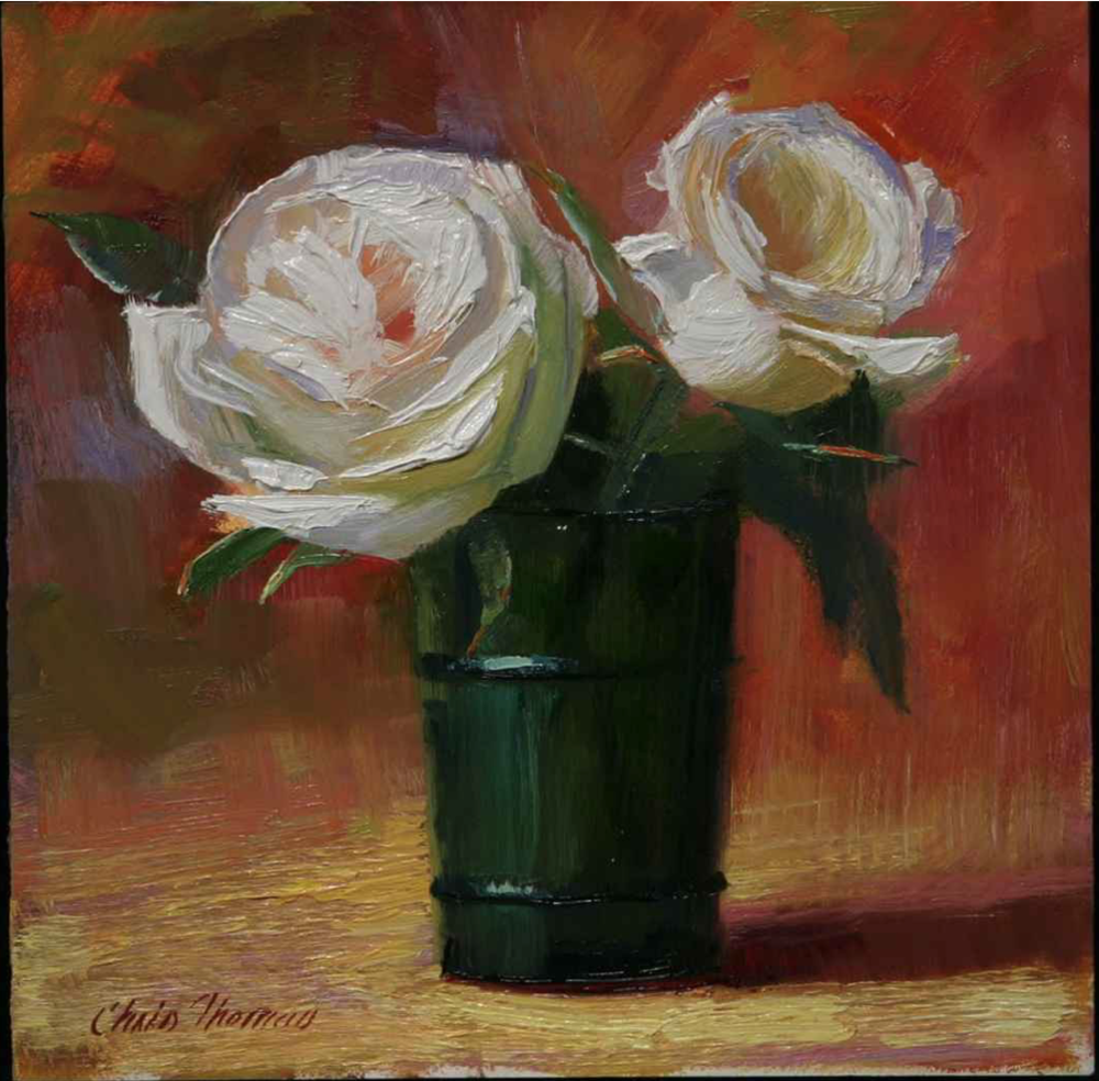 Chris Thomas, White Roses in Green Glass  Oil on Wood Panel, 6x6 in.