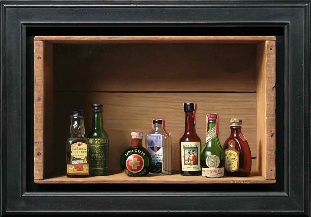 Chris Thomas, Mini Bar II  Oil on Wood Panel, 9.5x15.5 in.