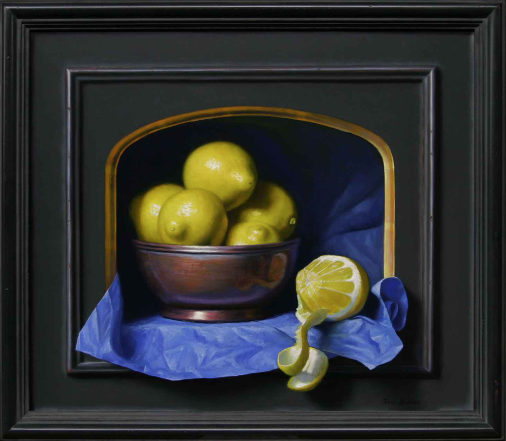 Chris Thomas, Emerging Lemons  Oil on Wood Panel, 14x16 in.