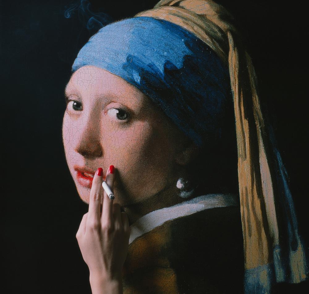 TYLER SHIELDS, Girl with a Pearl Earring  Acrylic, Digital Chromogenic Print  15 in. x 15in