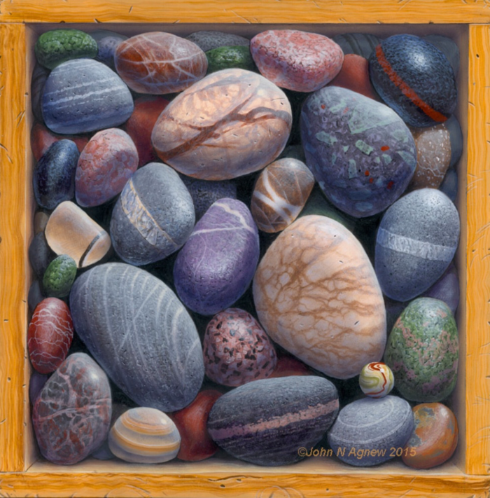 JOHN H. AGNEW, BOX OF ROCKS #5  ACRYLIC ON PANEL, 10 IN. X 10IN.