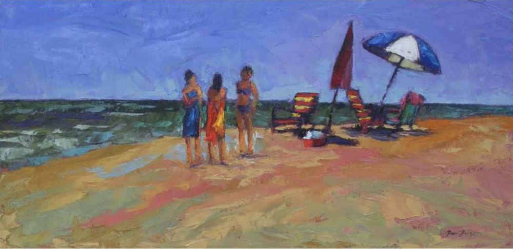 Pam Folsom, Three Young Girls and Towels  Oil on Canvas, 12 in. x 24 in.
