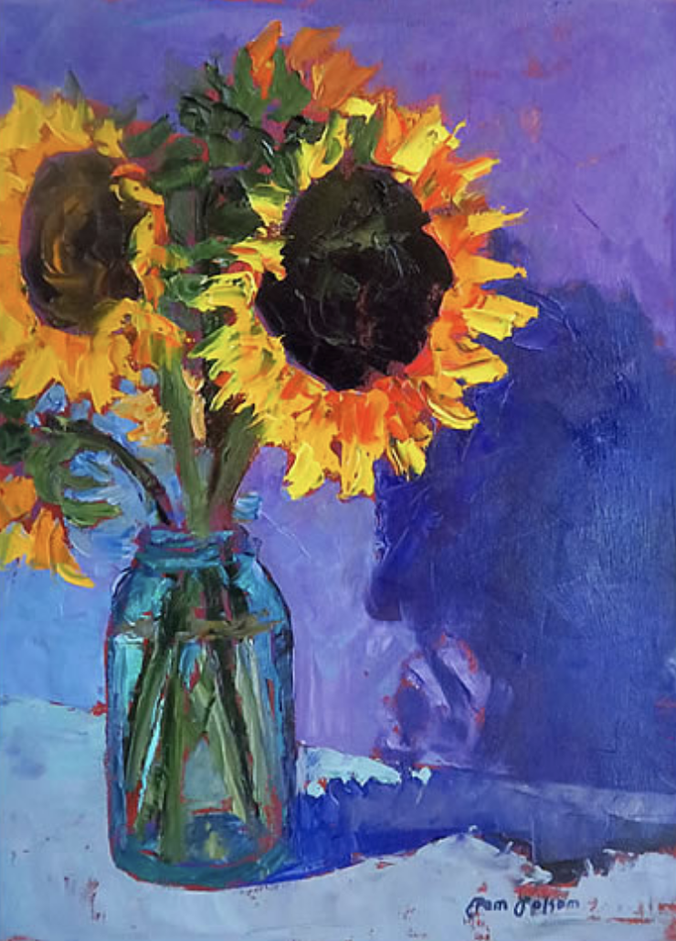 Pam Folsom, Sunflowers  Oil on Canvas, 16 in. x 12 in.