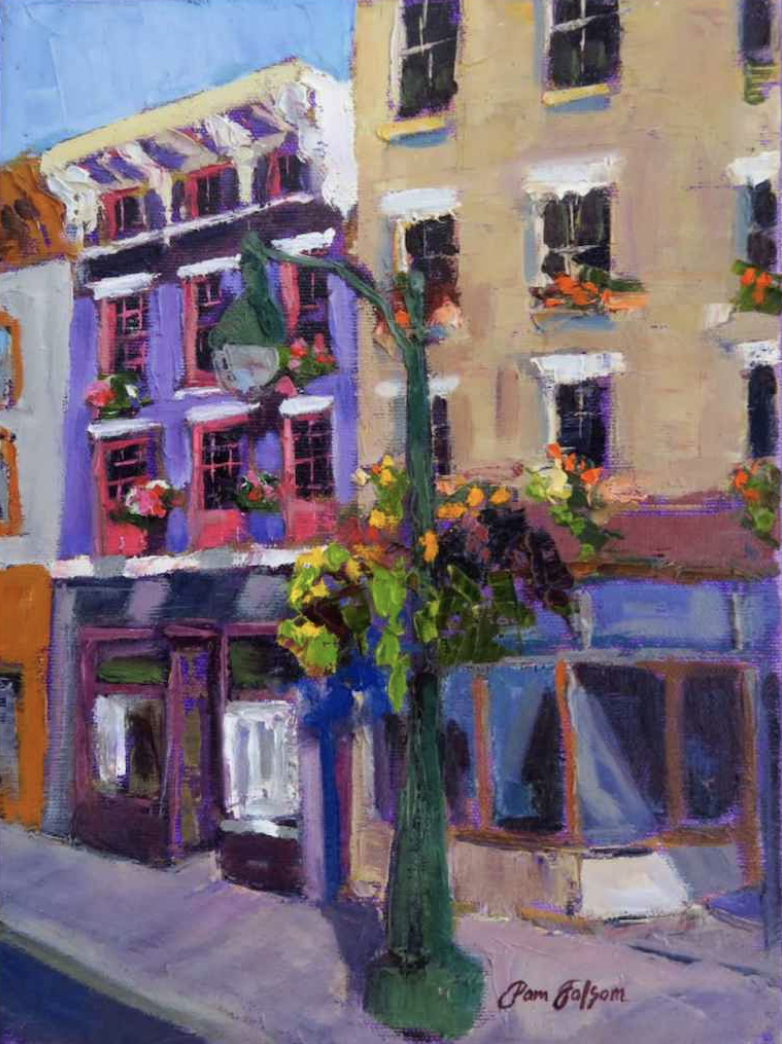 Pam Folsom, The Wine Store, Findlay Market  Oil on Canvas, 12 in. x 9 in.