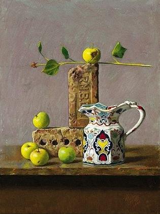 Daniel E. Greene, Apples, Fenton Vase & Bricks  Pastel on Board 24x18 in.