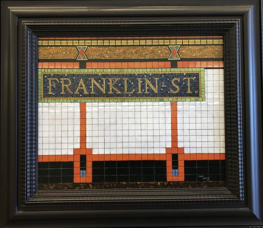 Daniel E. Greene, Franklin St.  Oil on Wood 19x24 in.