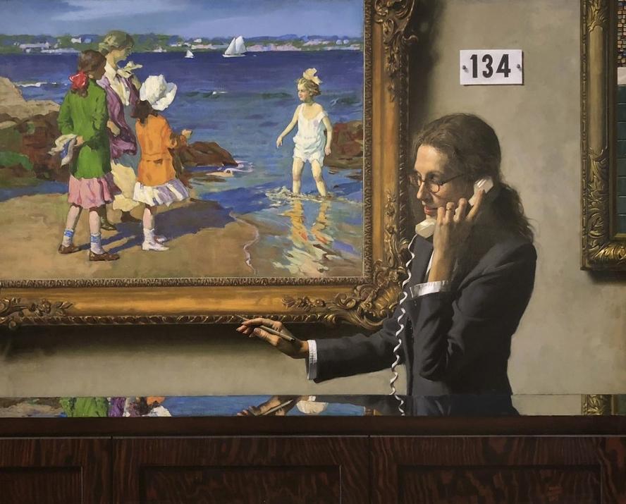 """Daniel E. Greene, Lot 134- """"The Water's Fine""""  Oil on Linen 40x50 in."""