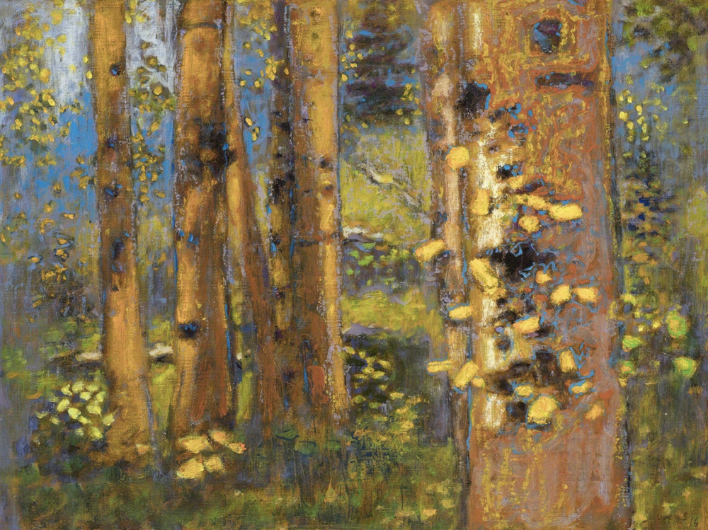 Rick Stevens, Morning in the Aspens  Oil on Canvas, 12x16 in.