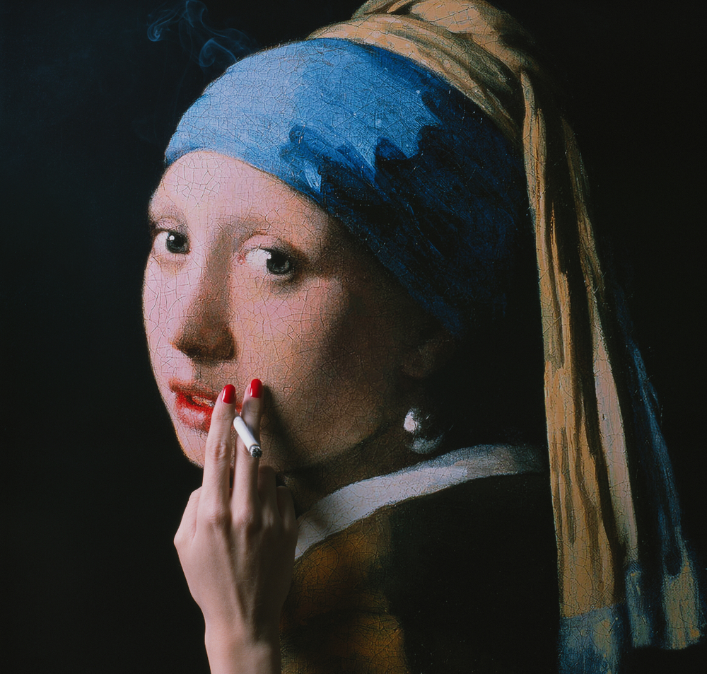 TYLER SHIELDS, Girl with a Pearl Earring  Acrylic, Digital Chromogenic Print 15 in. x 15in
