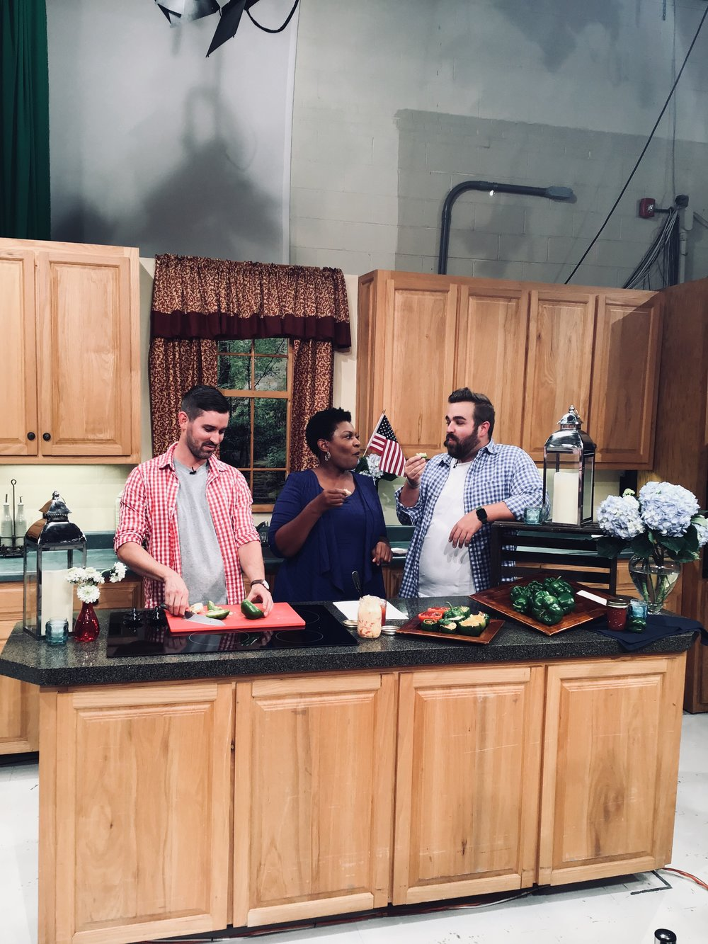 WSFA 12 News - Tim Essay, co-owner of Cahawba House, went on the WSFA  12 News set showing the best eats for Independence Day. Tim prepared peppers stuffed with our signature pimento cheese and mommas meatloaf.
