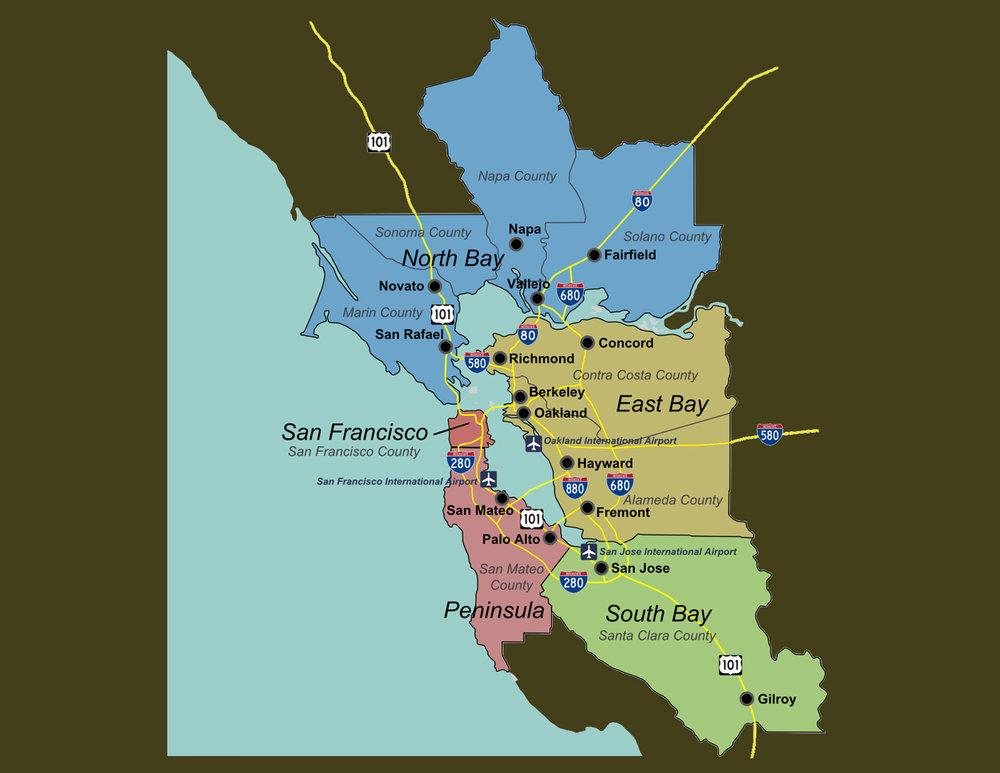 San Francisco Bay Area - San Francisco & PeninsulaNorth BayEast BaySouth Bay