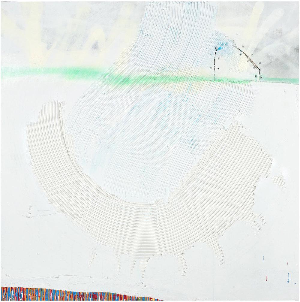 "Horizon   , 2018, 48""x48"", mixed-media, plaster, bone meal, acrylic, aerosol on wallboard (sold)"