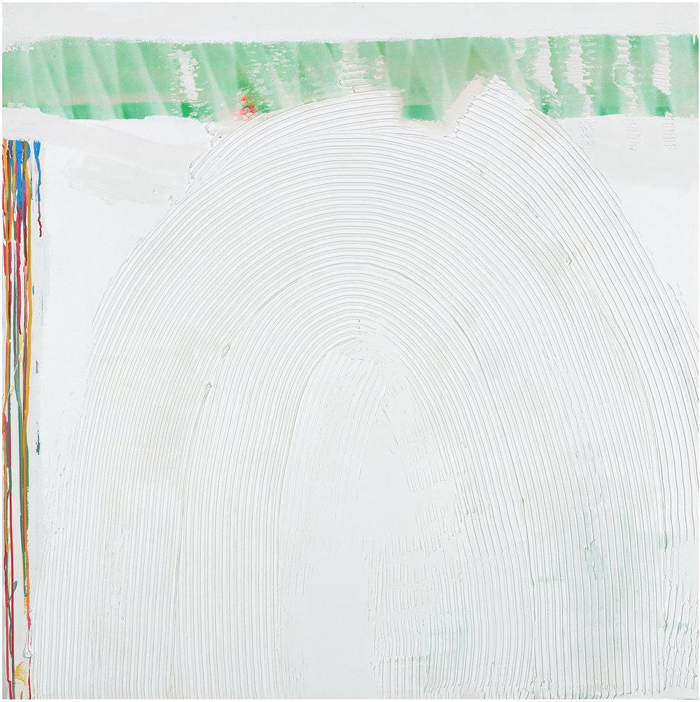 "Quieter Rainbow   , 2018, 48""x48"", mixed-media, plaster, bone meal, acrylic, aerosol on wallboard"