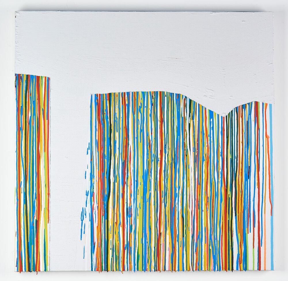 """Canyon,    2018, 32""""x32"""", mixed-media, thin-set, bone meal, acrylic on canvas"""