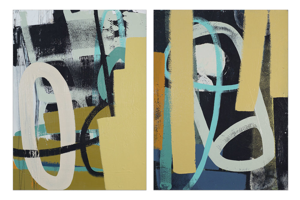 Untitled ( diptych, yellow/black  )