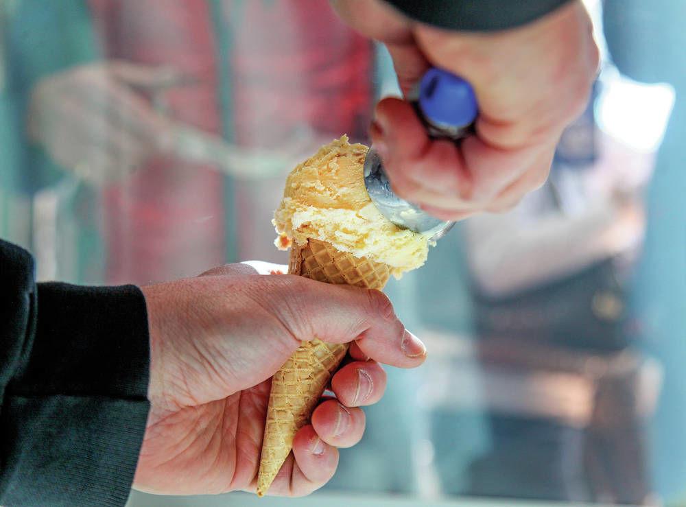 Scoop of peach pie ice cream. Photo by Gabriela Campos / Santa Fe New Mexican.