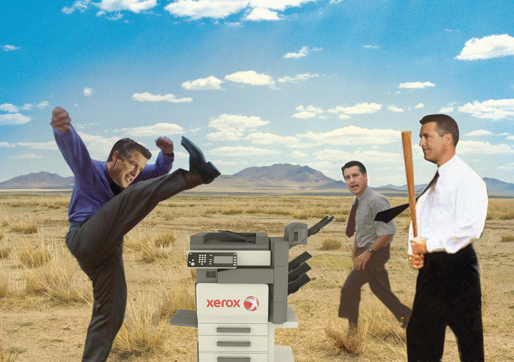 "Here's one of the first illustrations I created at  Vegas Seven  for article  ""Makin' Copies: Nevada Politics Edition"" , and it still makes me giggle. I hope you get the reference."