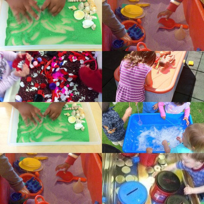 Introducing early literacy development for Toddlers and Two's through sensory play activities. Promoting early math by measuring, weighing, molding and pouring sand, water, ice, mud, bubbles, confetti, beans and learning language by naming objects and interacting with peers. Using large coffee cans with lid openings for posting and building fine motor skills.