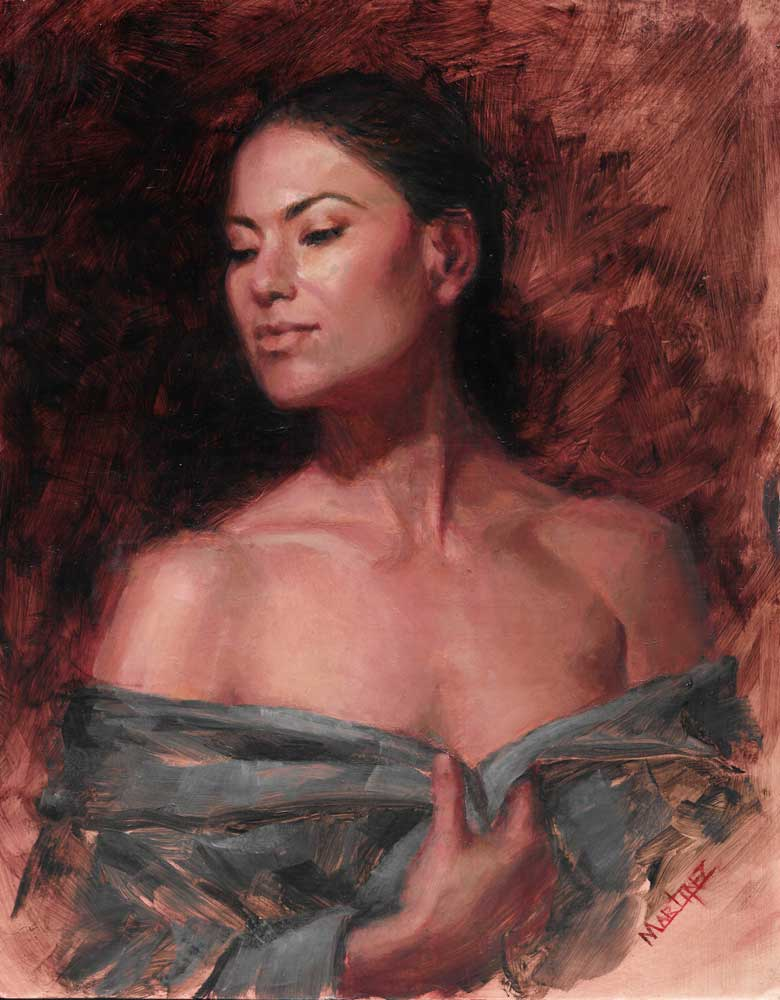 Poised in RedOil on Copper8x10 Inches- Sold - -