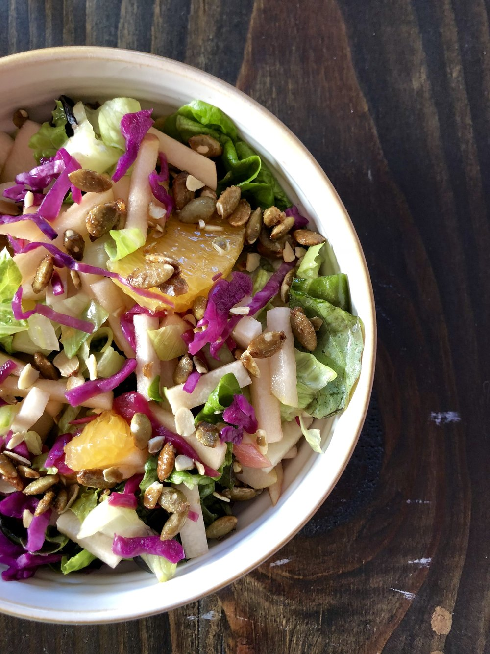 Meatless Monday - Chopped Salad: Peas. Apple. Jicama. Orange. Cabbage. Cucumber. Cilantro.