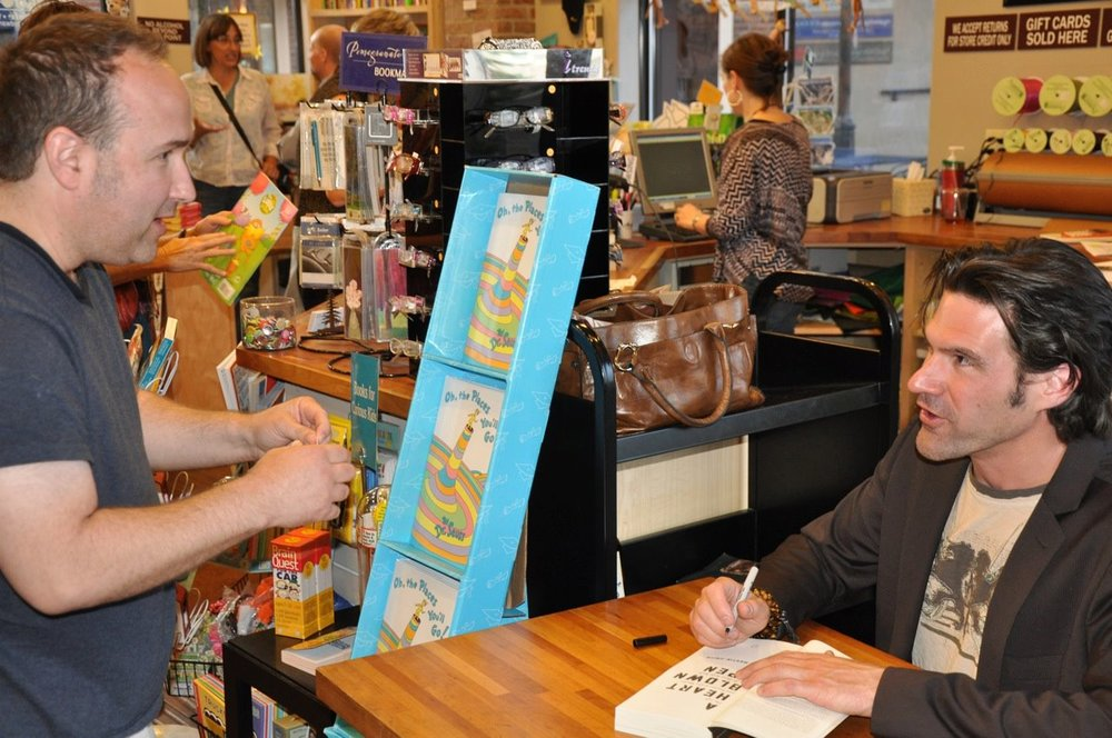 Signing books outside of Vail, Colorado.