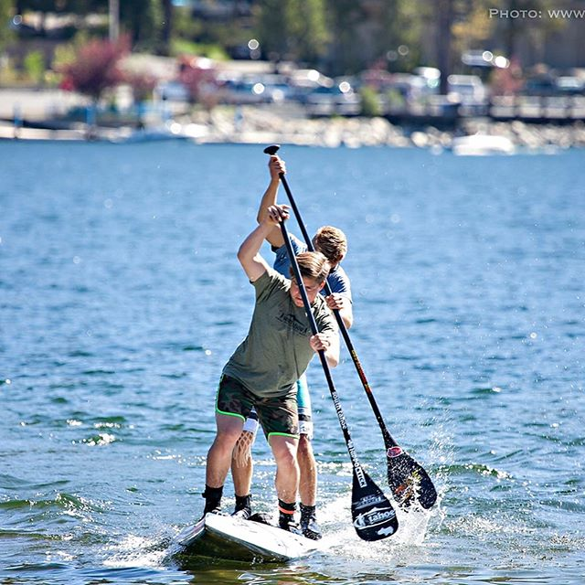 #DonnerLakeRace with @tahoelevi & @josiah_brackett racing on the Erickson Tandem Board!! #SouthTahoeSUP #BreakingRecords @tahoecupseries