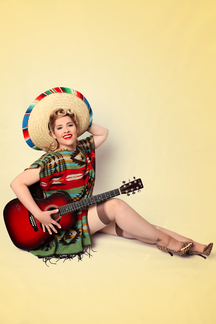 Chicago-Pinup-Photographer-Sombrero-Poncho-Guitar-Combo