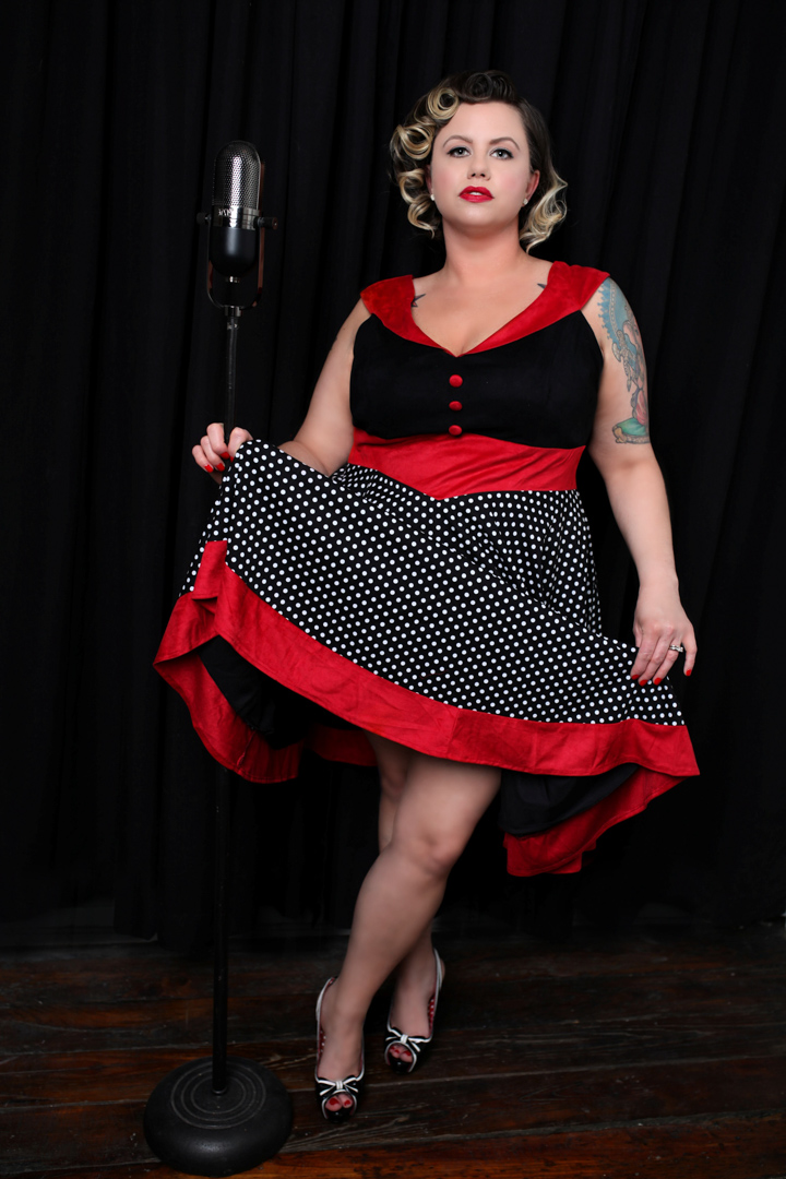 Chicago-Pinup-Photographer-Microphones-and-Polka-Dot-Skirts