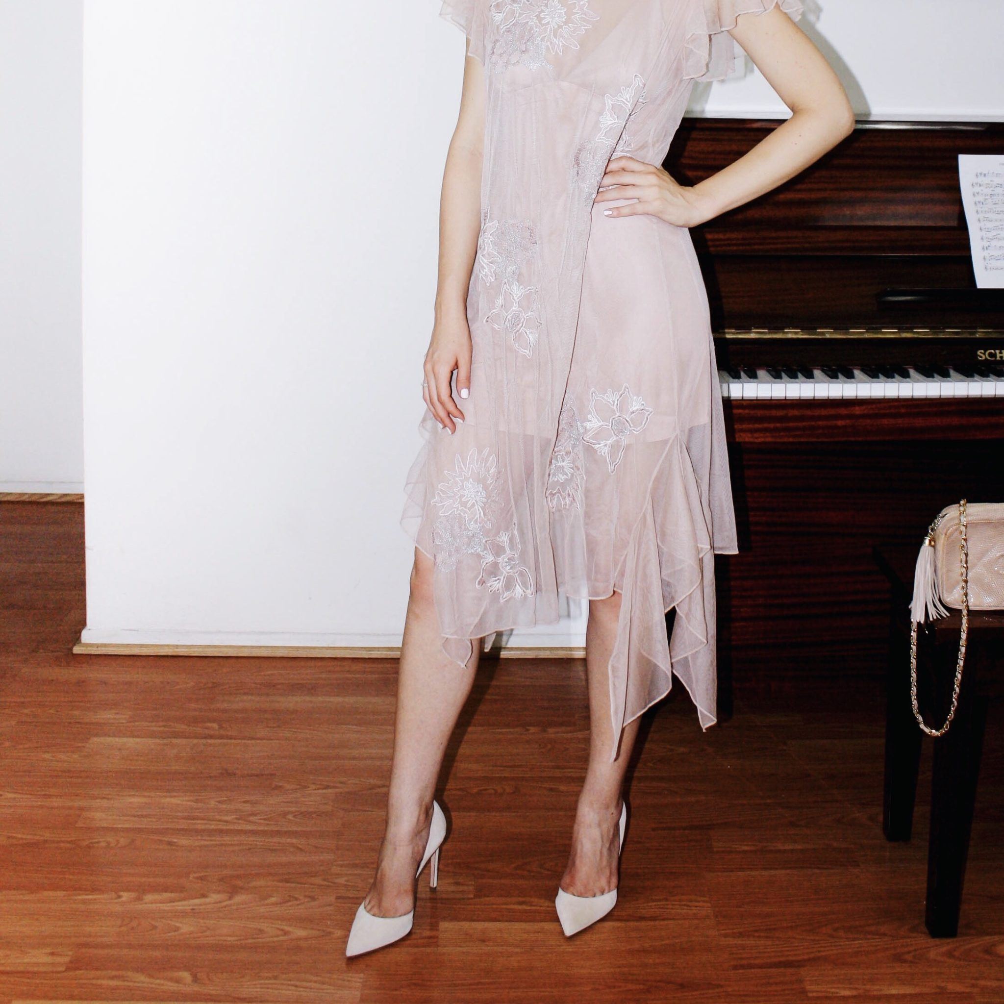 zara dress tulle naked dress embroidery chanel bag suede shoes giambattista valli 3