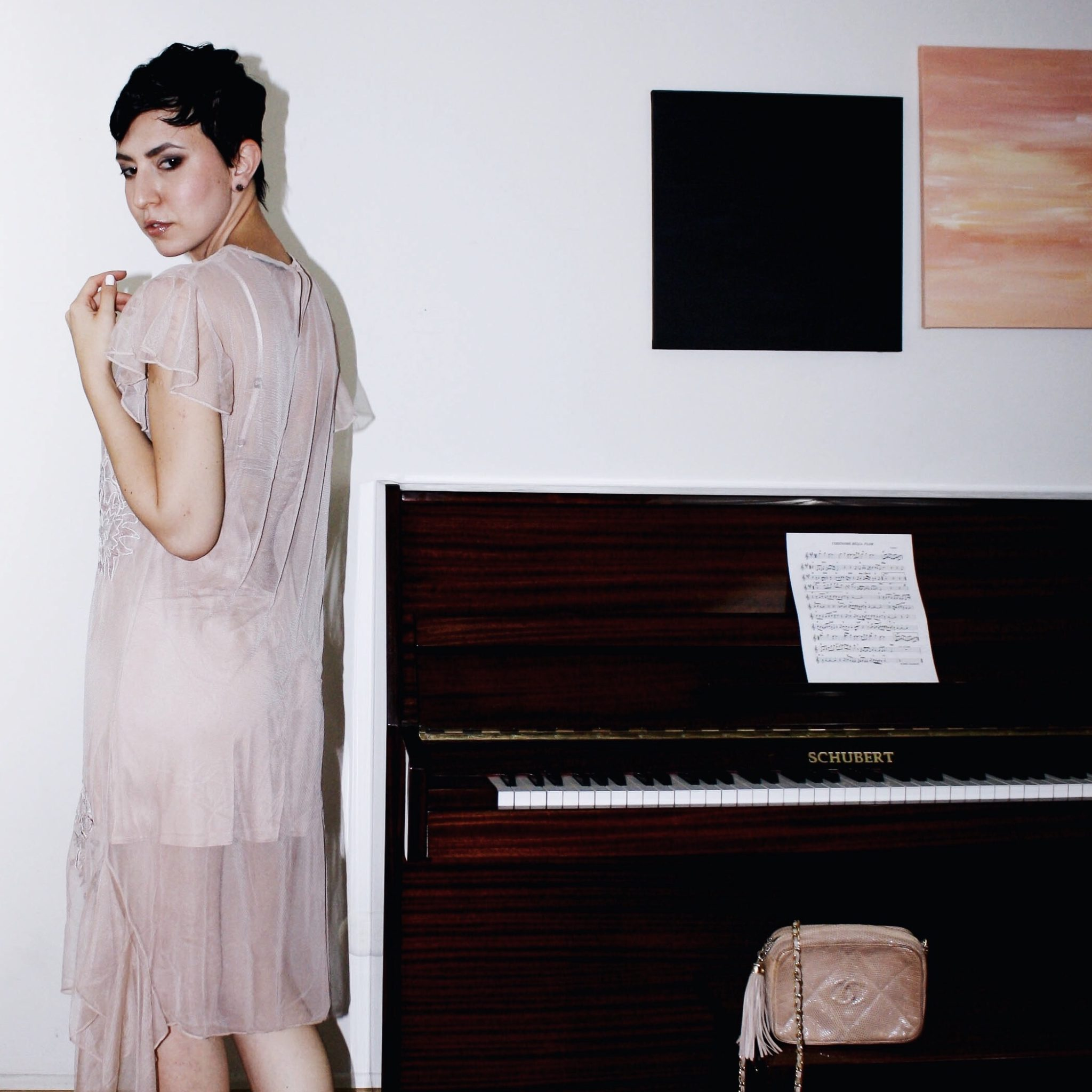 zara dress tulle naked dress embroidery chanel bag suede shoes giambattista valli piano girl