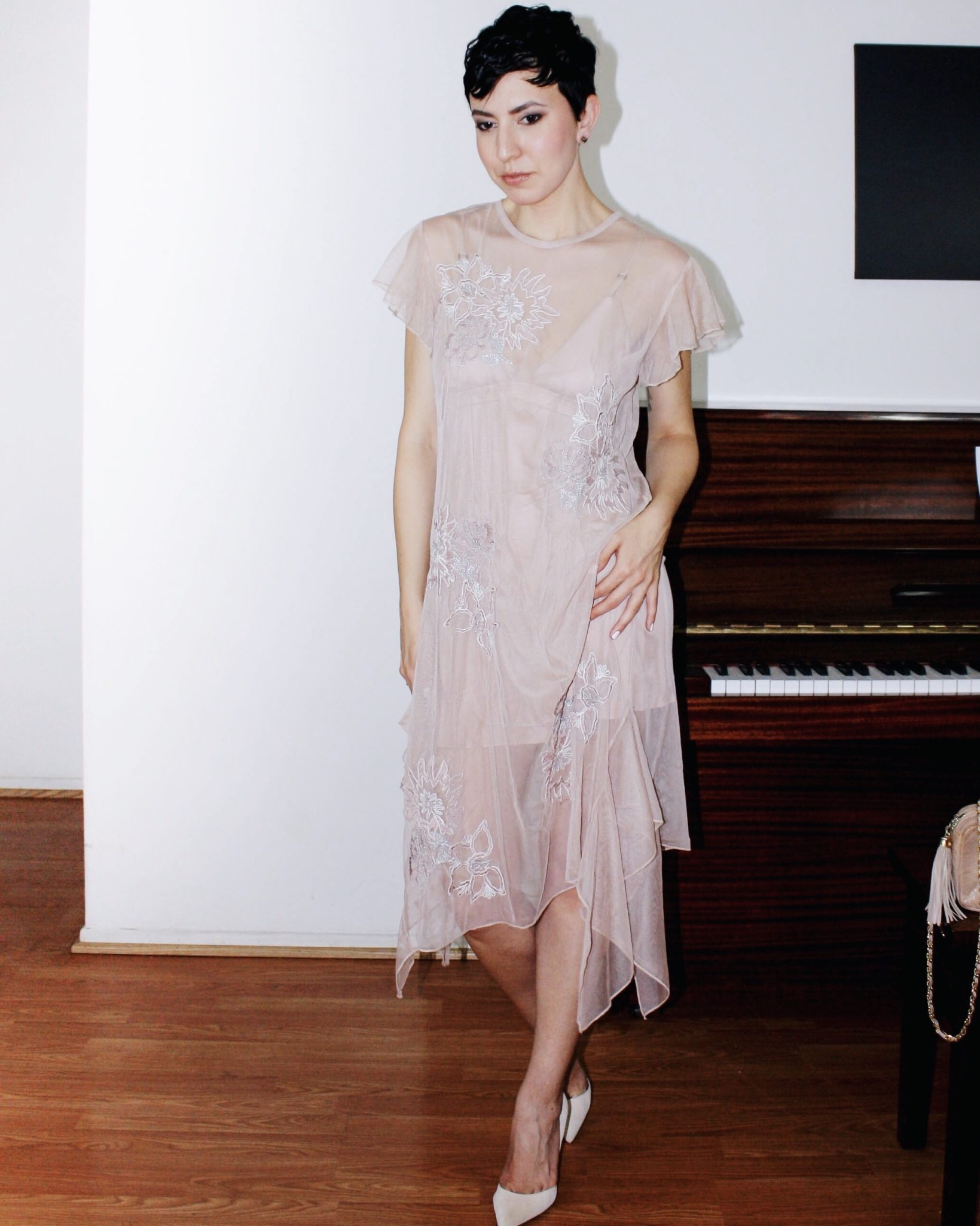 zara dress tulle naked dress embroidery chanel bag suede shoes giambattista valli 6