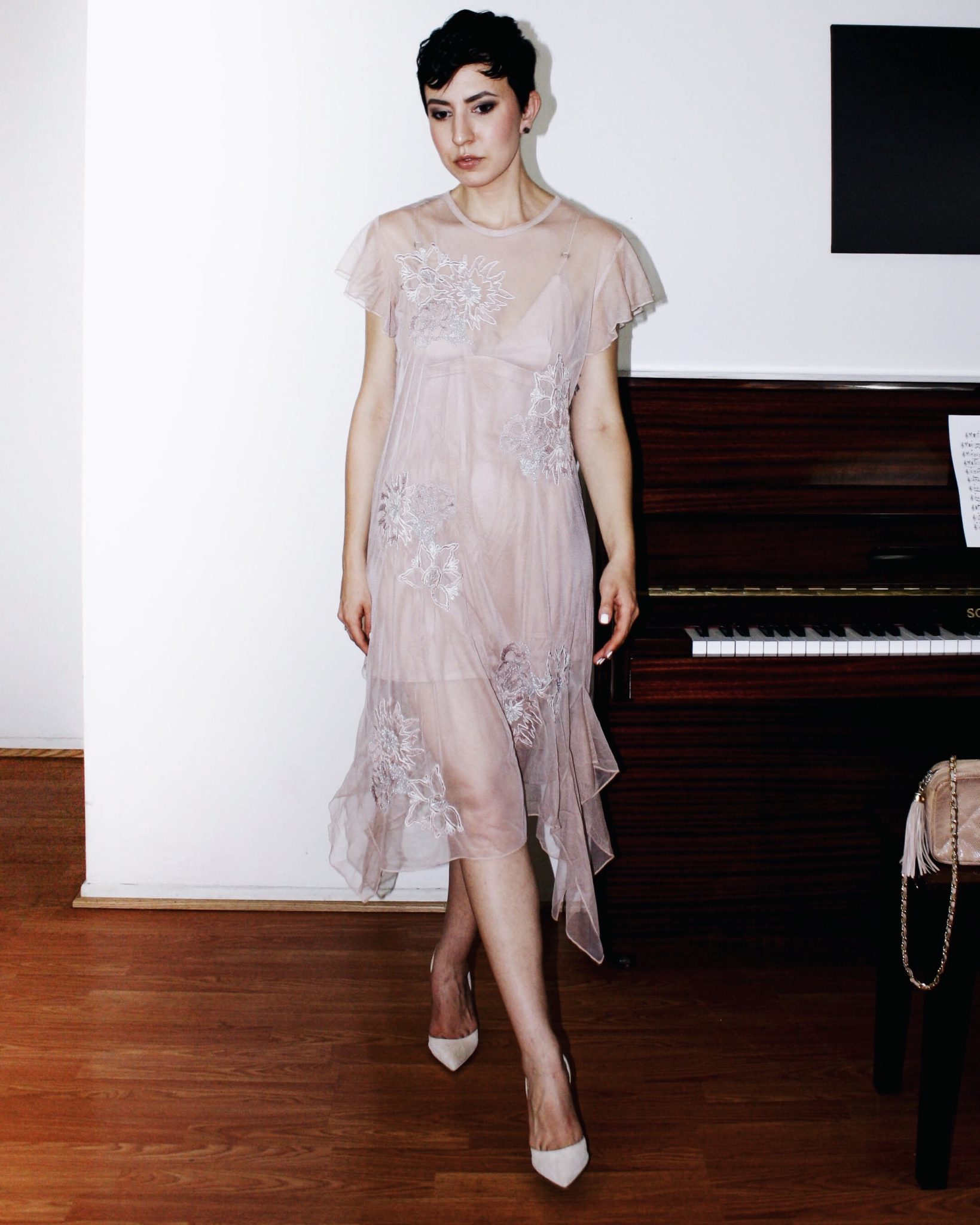 zara dress tulle naked dress embroidery chanel bag suede shoes giambattista valli 4