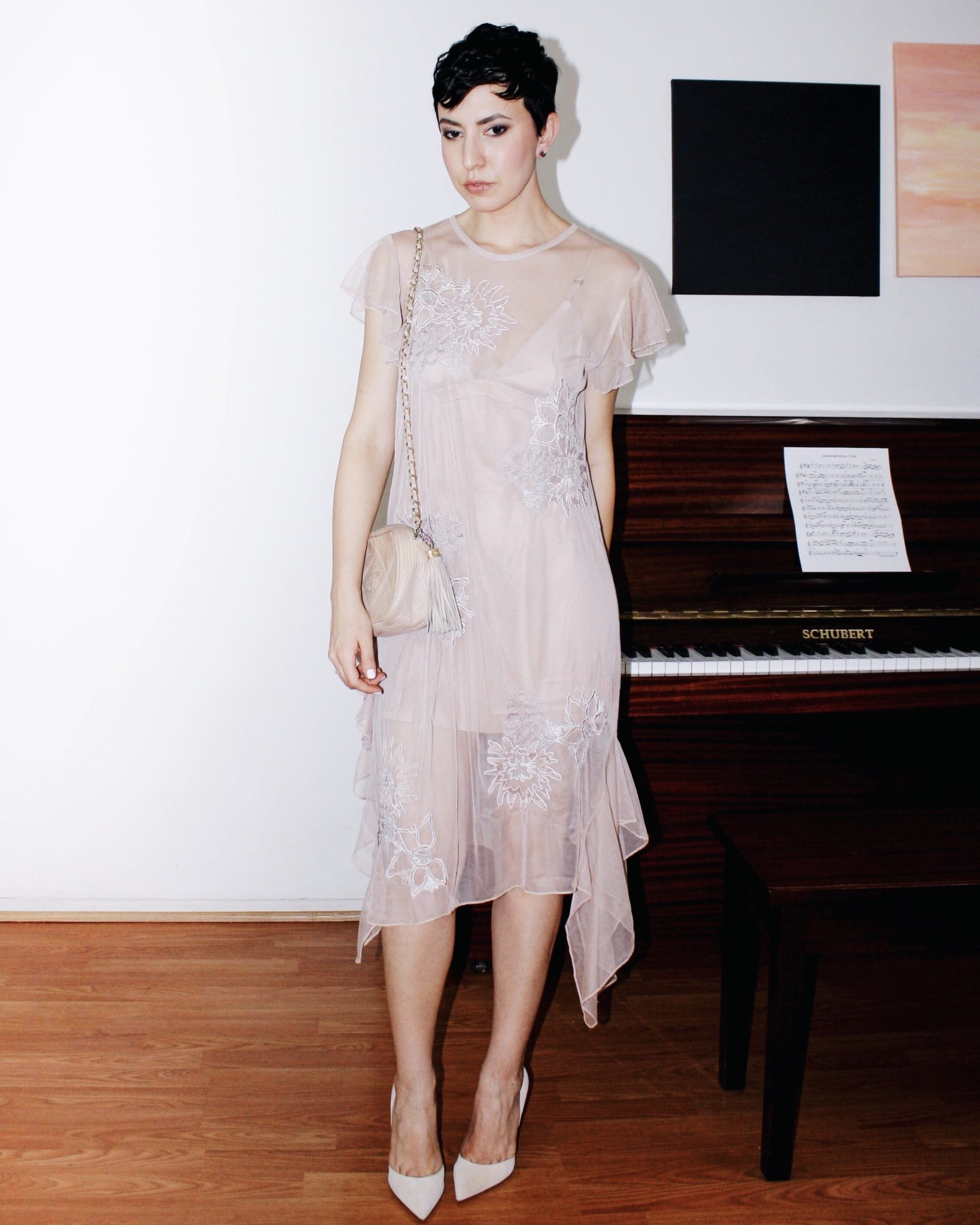 zara dress tulle naked dress embroidery chanel bag suede shoes giambattista valli