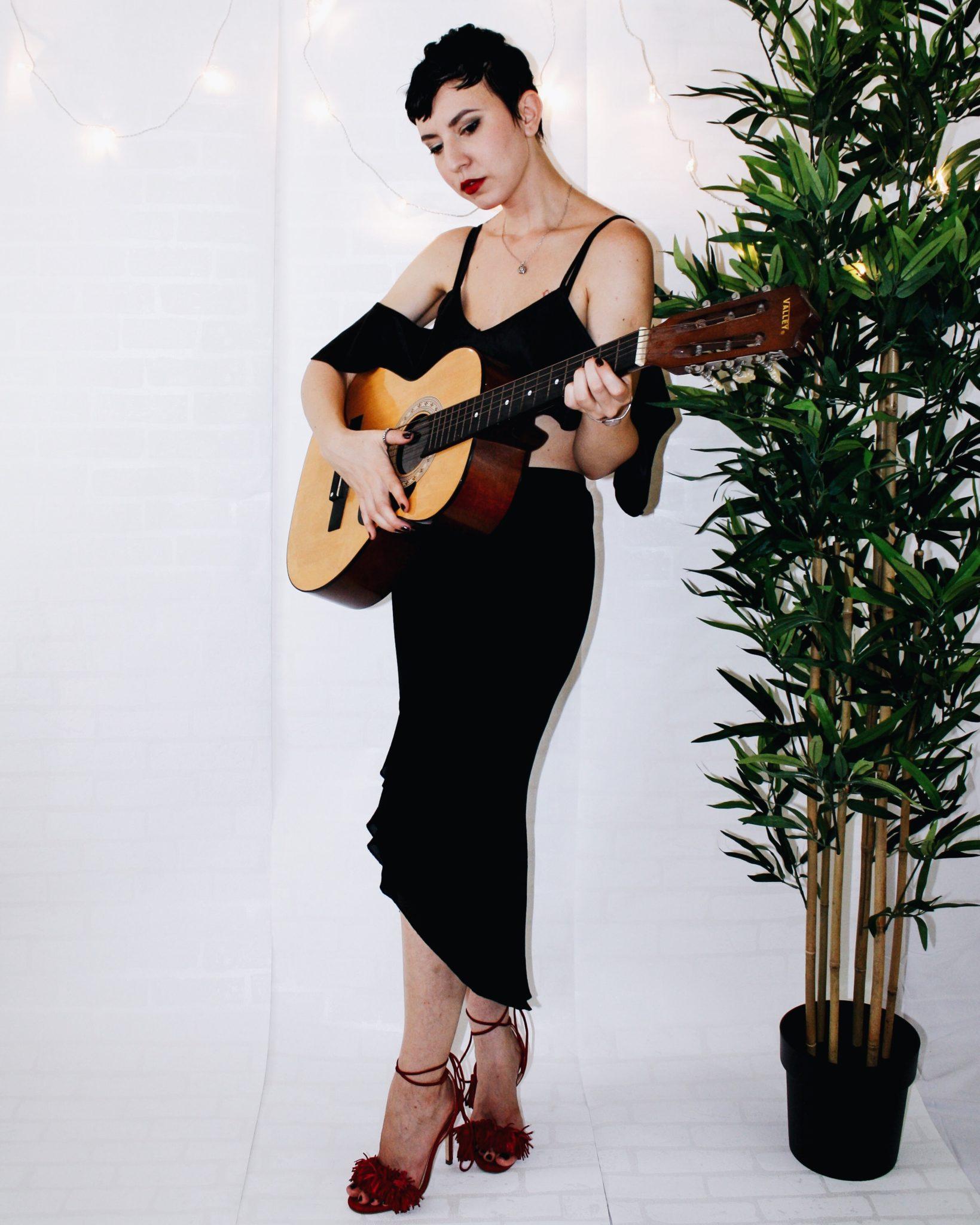 spanish revival bardot top missguided dvf skirt aquazzura shoe guitar zara bag 7