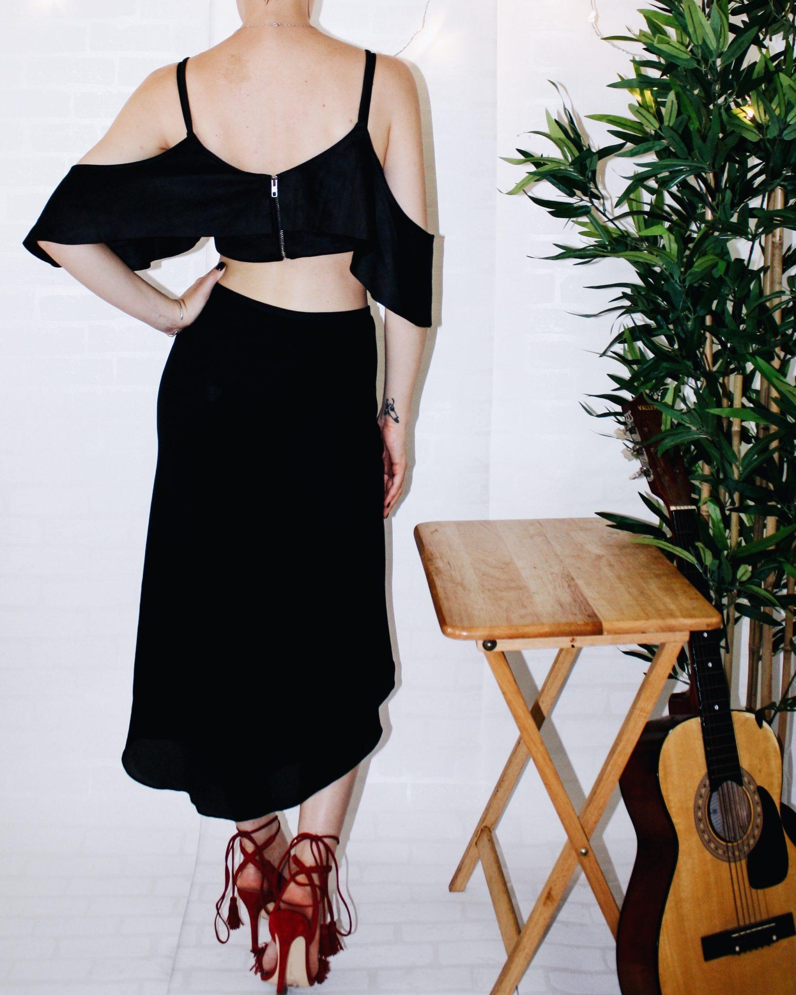 spanish revival bardot top missguided dvf skirt aquazzura shoe guitar zara bag 6
