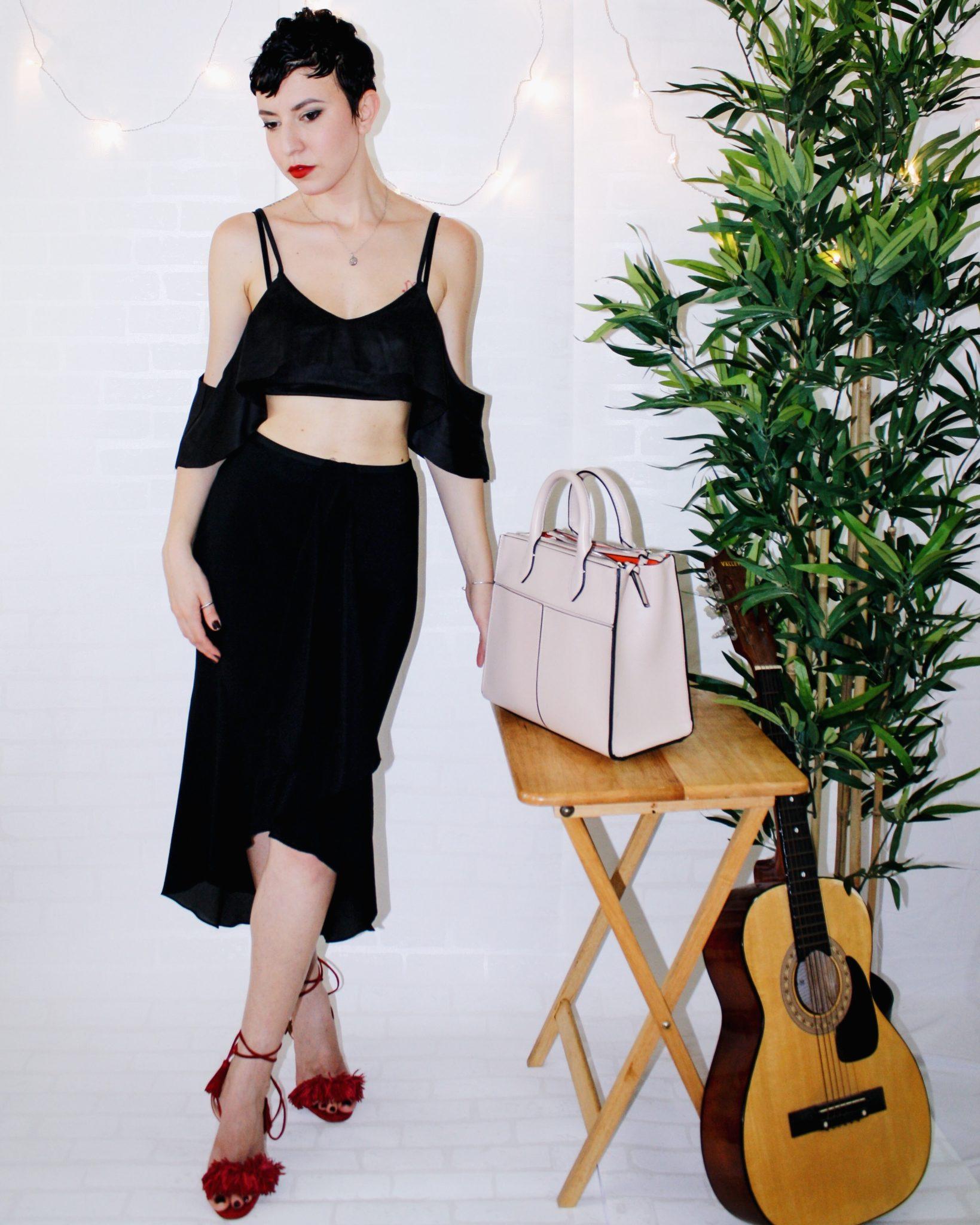 spanish revival bardot top missguided dvf skirt aquazzura shoe guitar zara bag