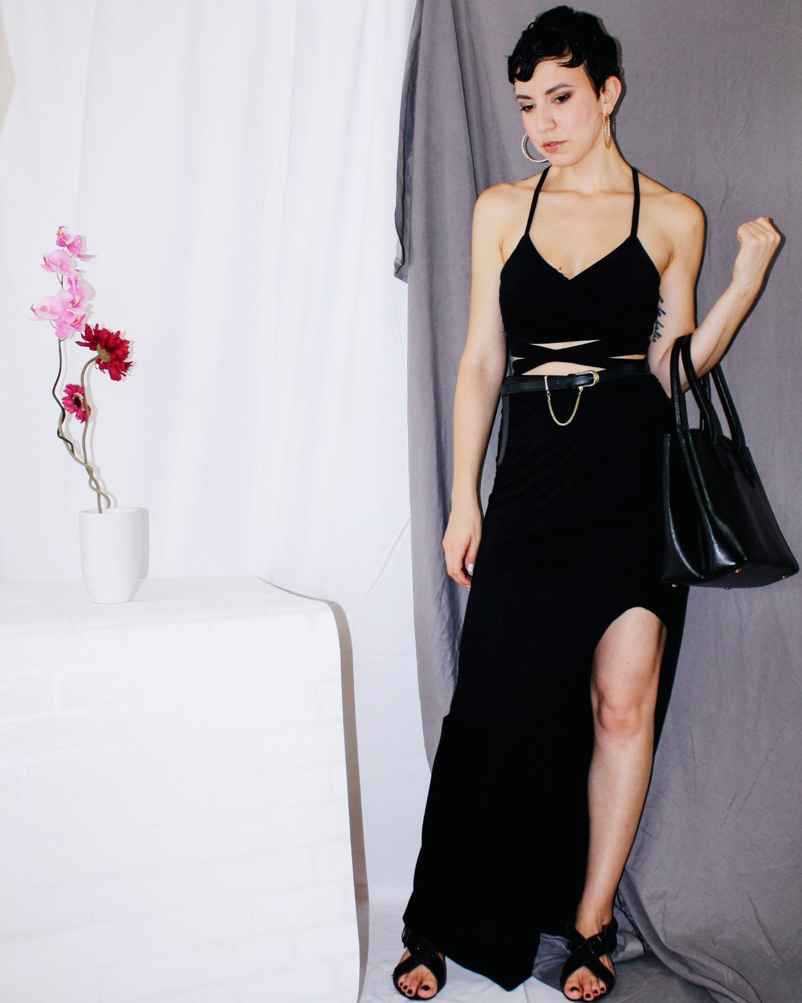 michael kors summer beach vibes all black resort 2018 long skirt crop top wraparound givenchy sandals leather 5