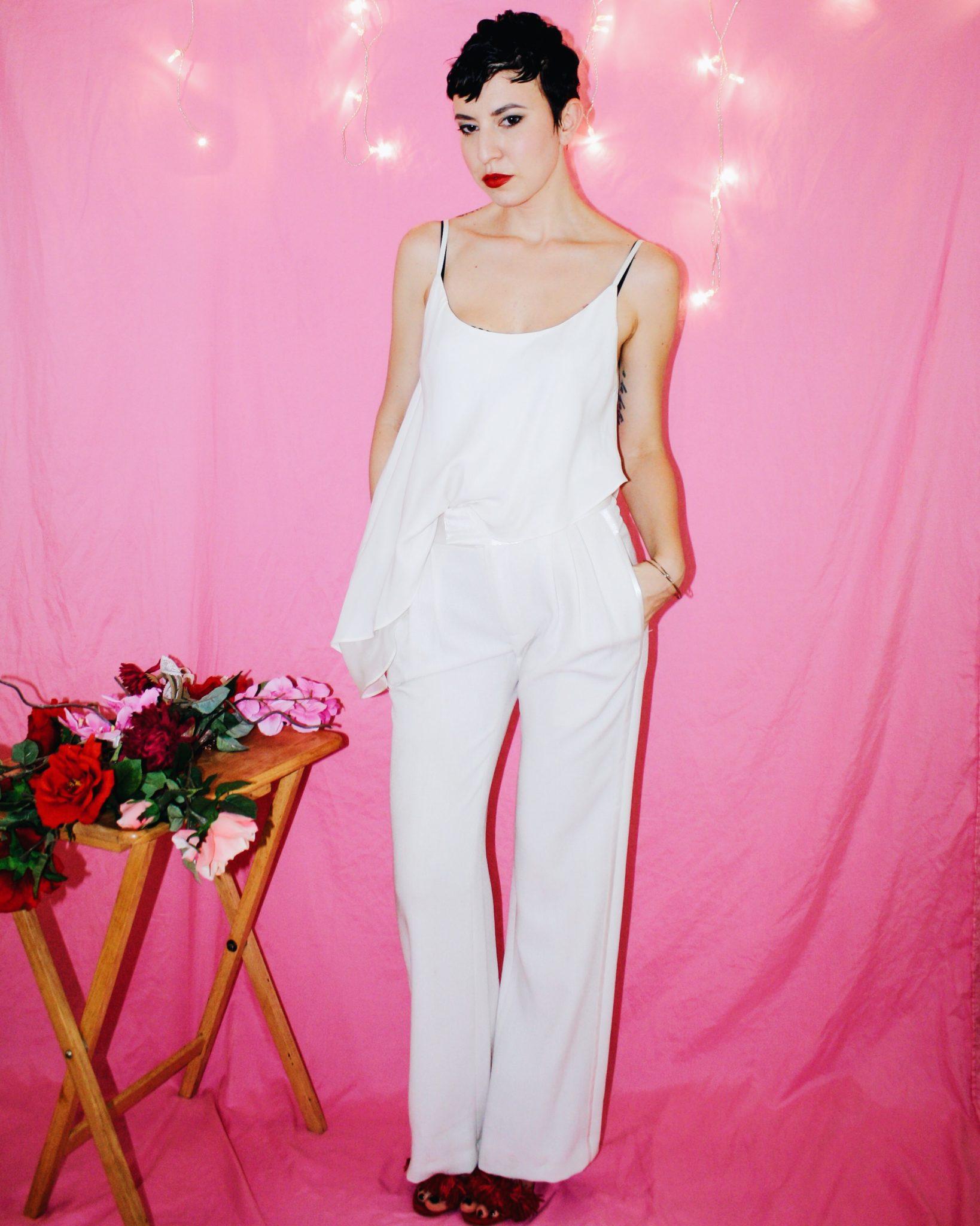 proenza schouler designer imitation white ruffle top spring summer 2018 2017 flowers pink 2