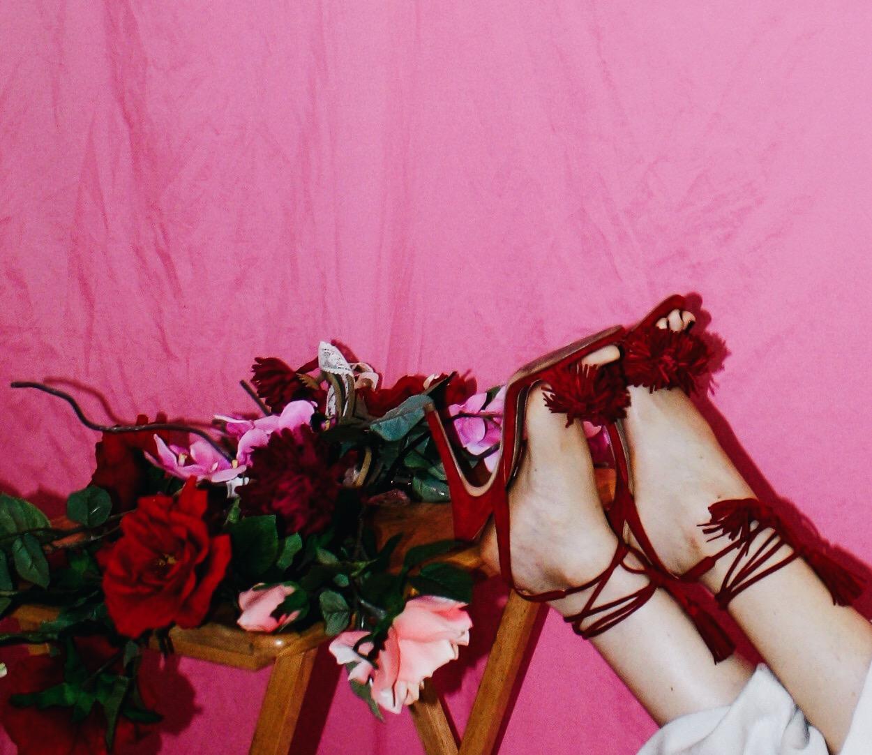 proenza schouler designer imitation white ruffle top spring summer 2018 2017 flowers pink aquazzura red wild things sandal fringe