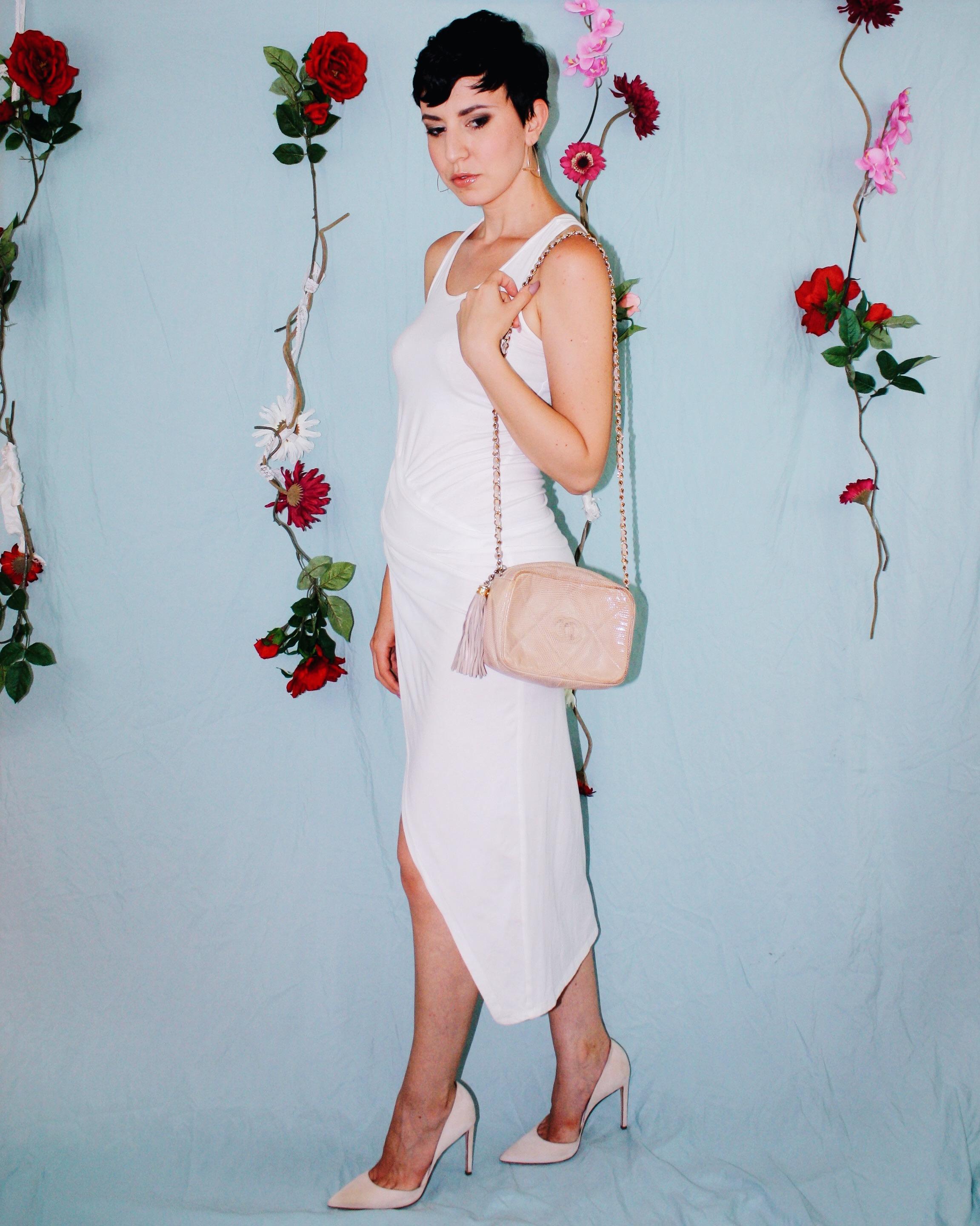 labor day outfit ideas white leggings silk tank lace boustier linen shorts dress chanel bag