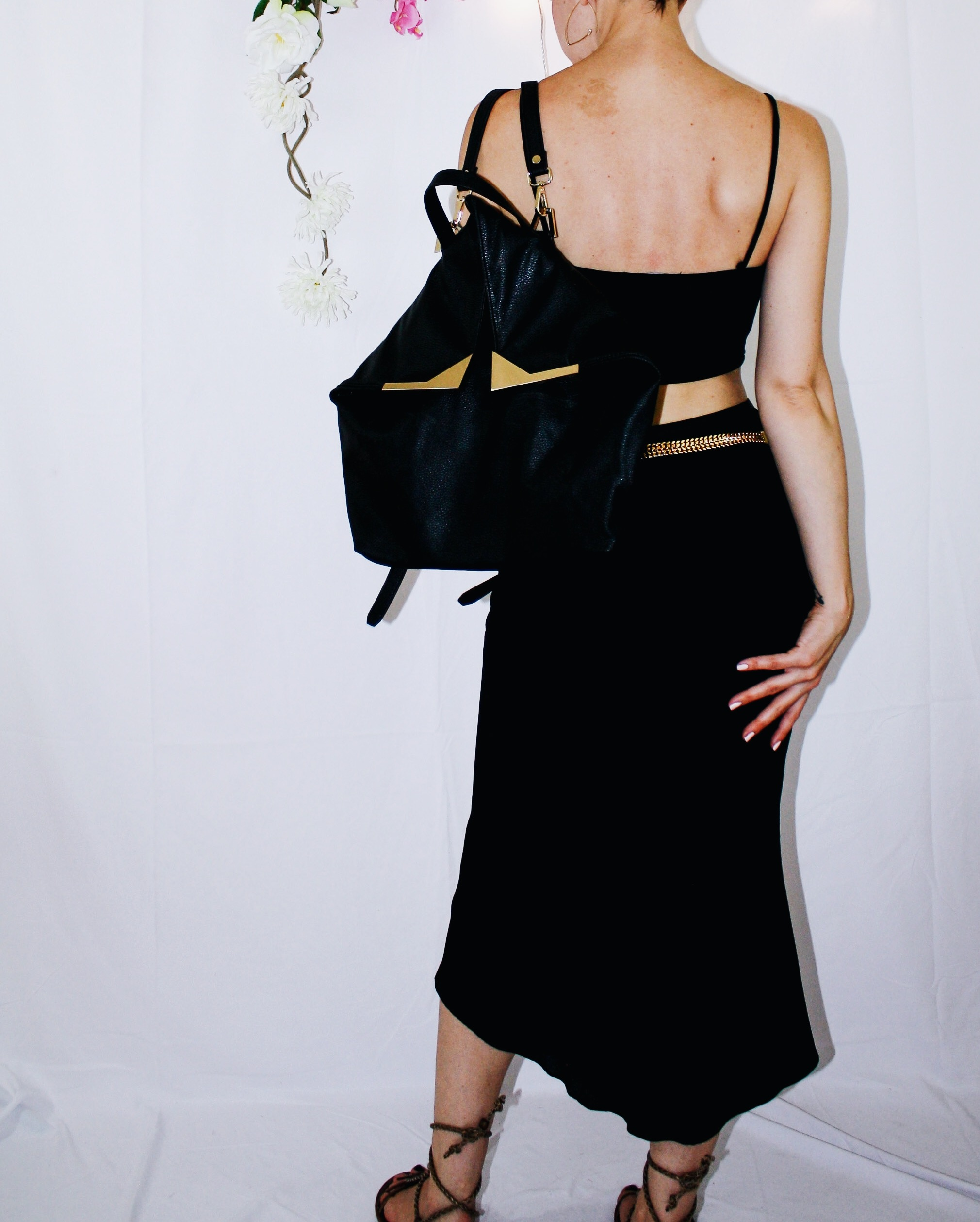 heatwave outfit waterfall skirt black crop top lace up sandal backpack 7