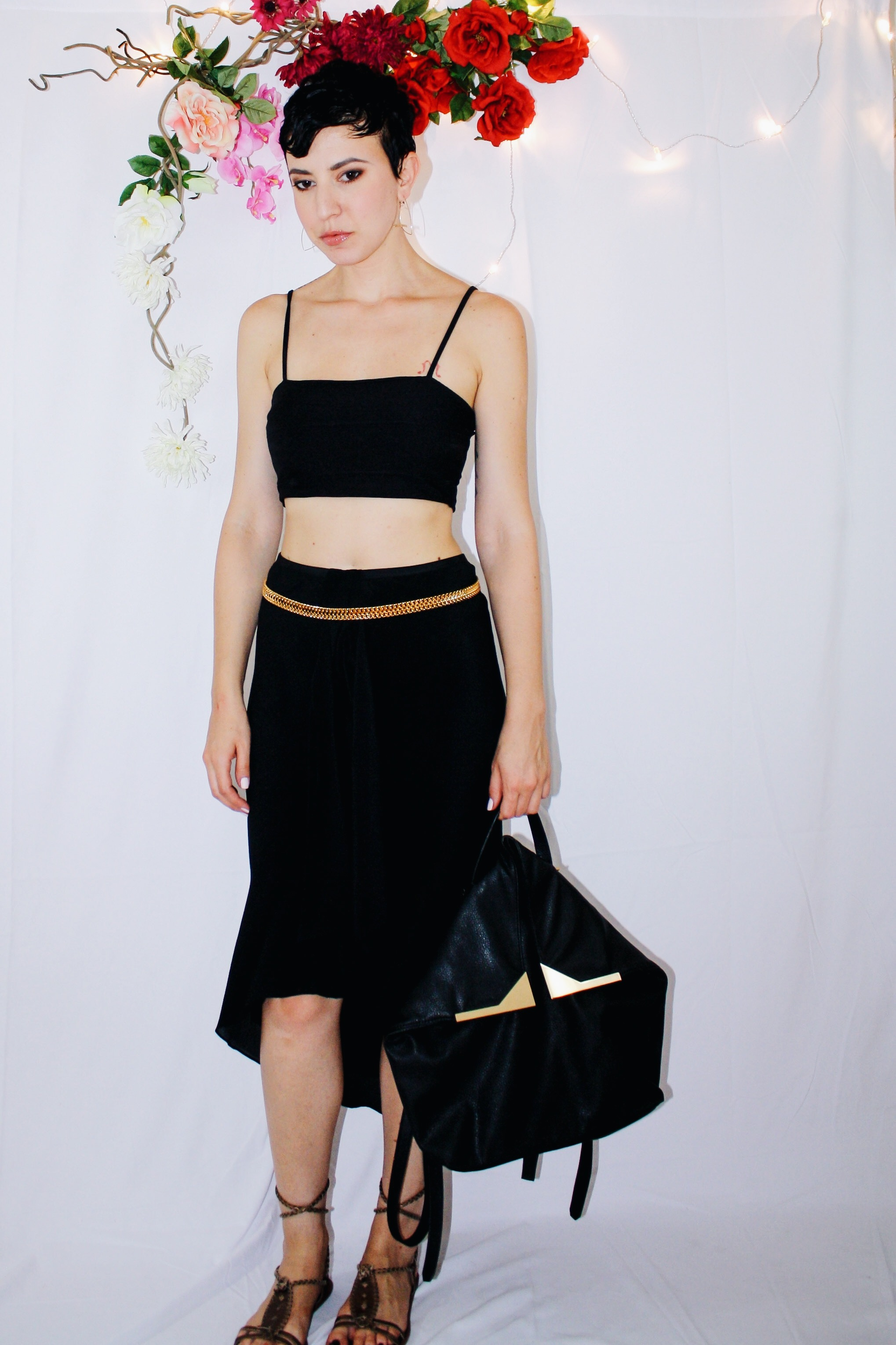 heatwave outfit waterfall skirt black crop top lace up sandal backpack 3