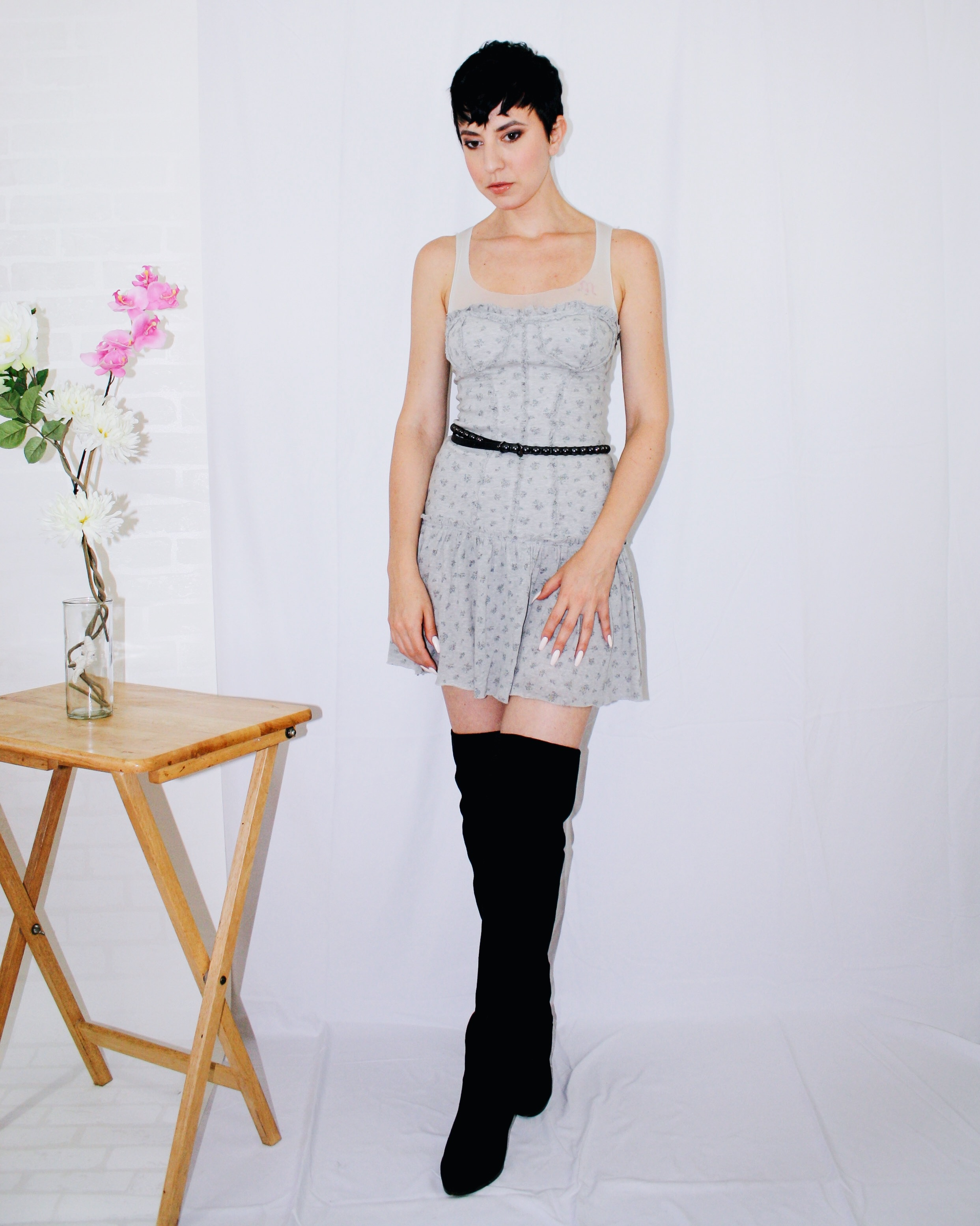 over the knee boots dior dress belt light grey fall outfits lookbook