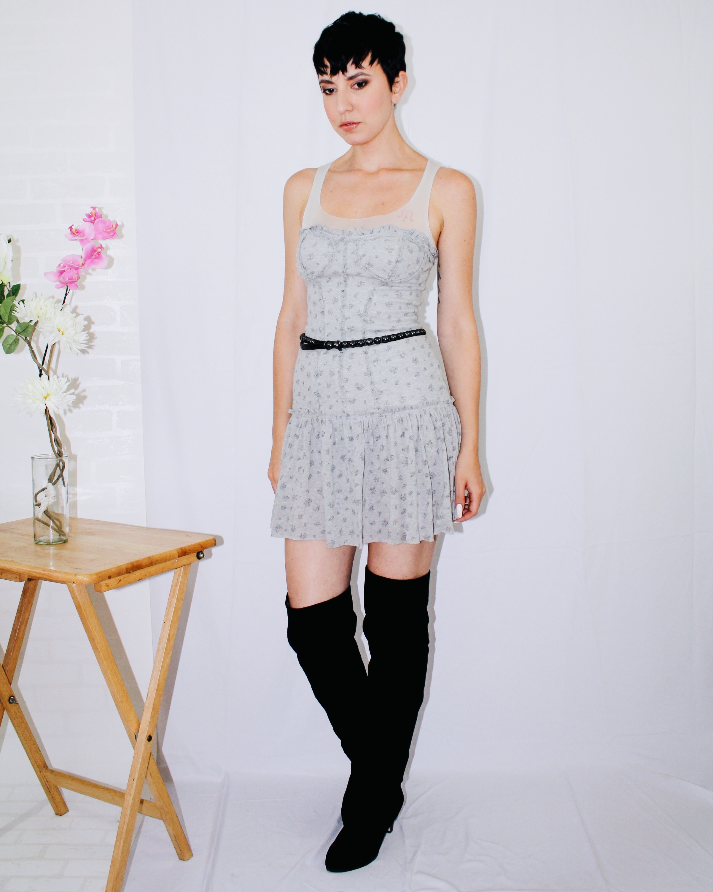over the knee boots dior dress belt light grey fall outfits lookbook 5